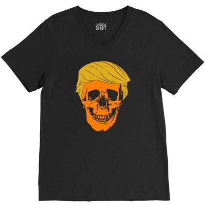 Orange Skull V-neck Tee Designed By G3ry