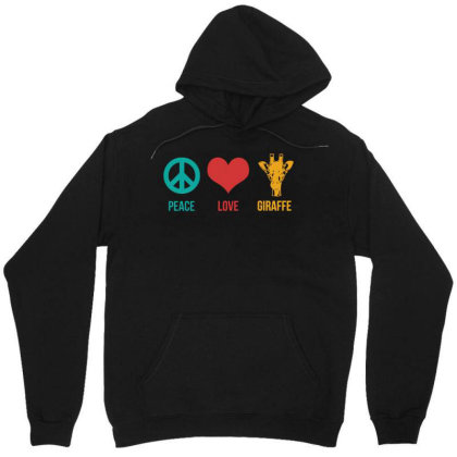 Peace Love Giraffe Unisex Hoodie Designed By G3ry