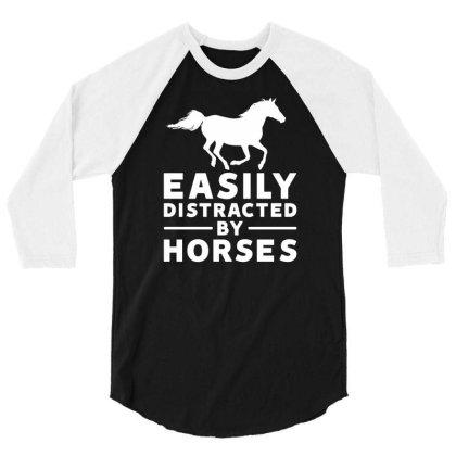 Pony Pet Animal Horse 3/4 Sleeve Shirt Designed By G3ry