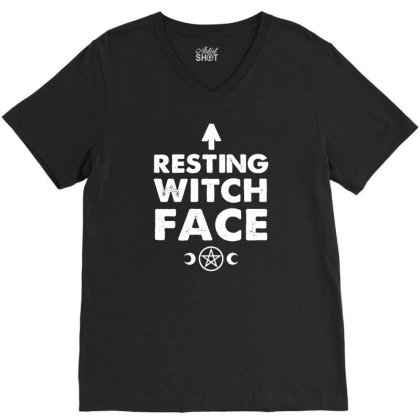 Resting Witch Face   Goth V-neck Tee Designed By G3ry