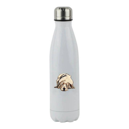 Cute Large Basset Hound And Bying Fla Stainless Steel Water Bottle Designed By Kemnabi