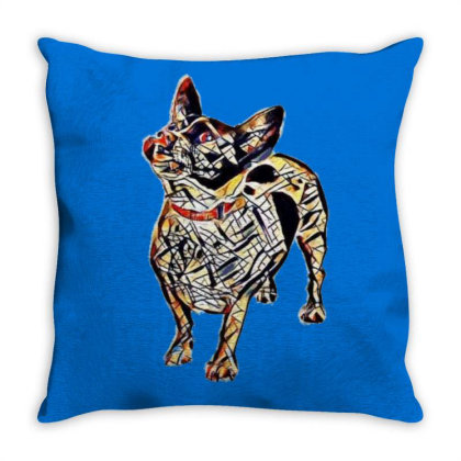 Cute Small Mixed Breed Dog Sticking Ou Throw Pillow Designed By Kemnabi