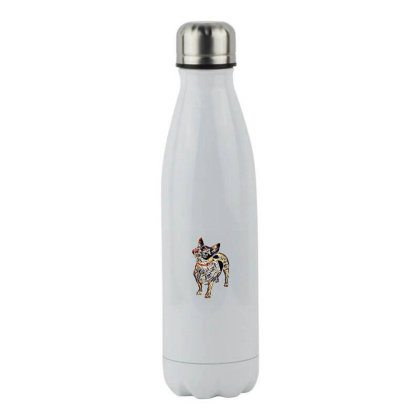 Cute Small Mixed Breed Dog Sticking Ou Stainless Steel Water Bottle Designed By Kemnabi