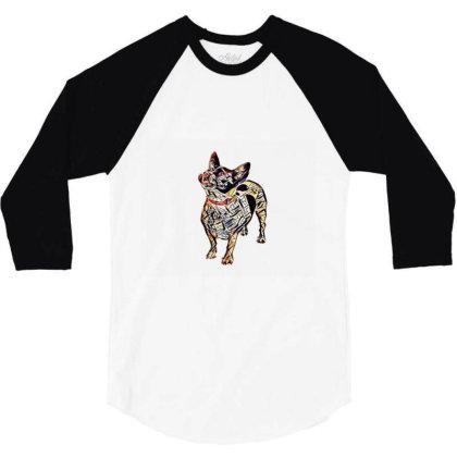 Cute Small Mixed Breed Dog Sticking Ou 3/4 Sleeve Shirt Designed By Kemnabi