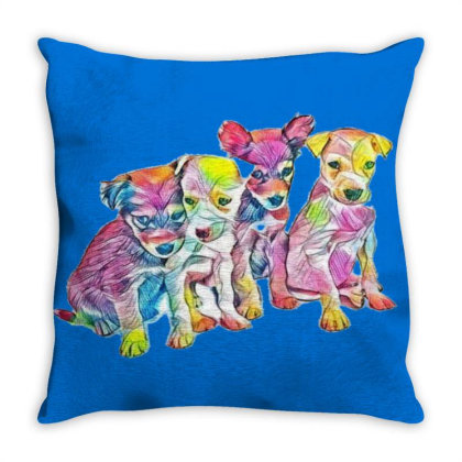 Litter Of Cute Scruffy Mixed Throw Pillow Designed By Kemnabi