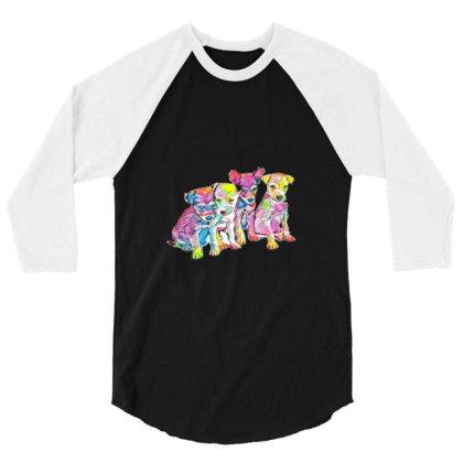 Litter Of Cute Scruffy Mixed 3/4 Sleeve Shirt Designed By Kemnabi
