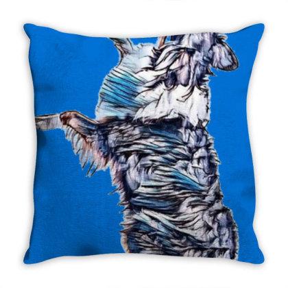 Happy Australian Shepherd Dog Throw Pillow Designed By Kemnabi