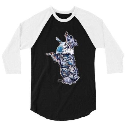 Happy Australian Shepherd Dog 3/4 Sleeve Shirt Designed By Kemnabi