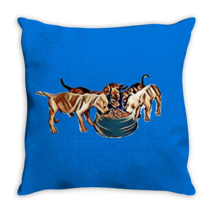 Litter Of Small Puppies Surro Throw Pillow Designed By Kemnabi
