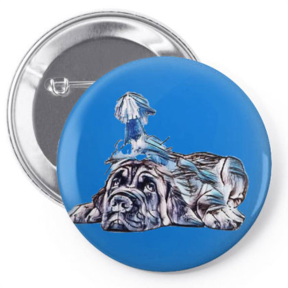 Funny Photo Of Tired Mastiff Pin-back Button Designed By Kemnabi