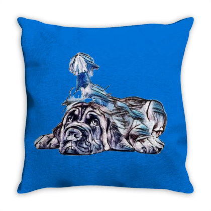 Funny Photo Of Tired Mastiff Throw Pillow Designed By Kemnabi
