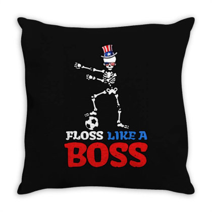 Skeleton Soccer Floss Dance 4th Of July Throw Pillow Designed By Star Store