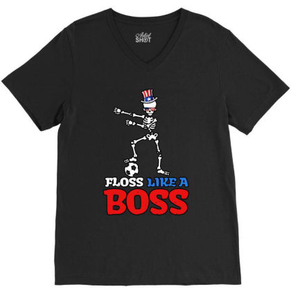 Skeleton Soccer Floss Dance 4th Of July V-neck Tee Designed By Star Store