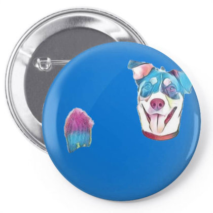 Happy And Smiling Mixed Breed Pin-back Button Designed By Kemnabi