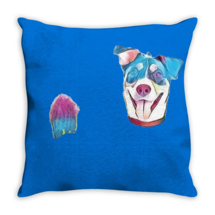 Happy And Smiling Mixed Breed Throw Pillow Designed By Kemnabi