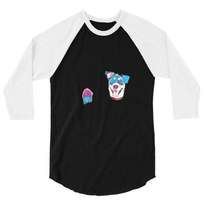 Happy And Smiling Mixed Breed 3/4 Sleeve Shirt Designed By Kemnabi