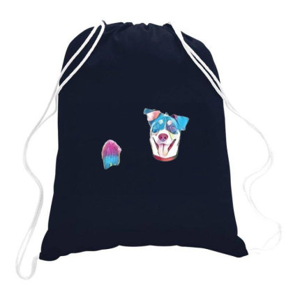 Happy And Smiling Mixed Breed Drawstring Bags Designed By Kemnabi