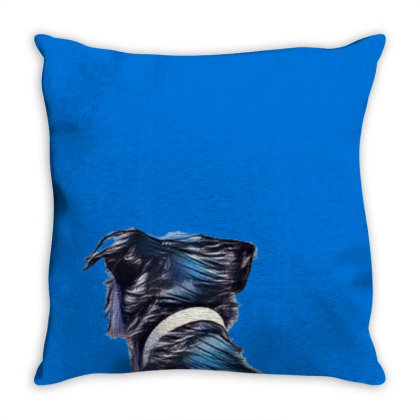 View Of The Back Of A Dog Loo Throw Pillow Designed By Kemnabi
