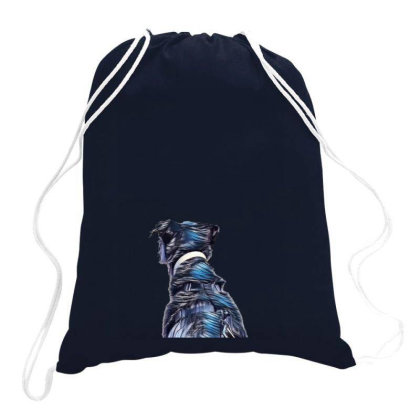 View Of The Back Of A Dog Loo Drawstring Bags Designed By Kemnabi