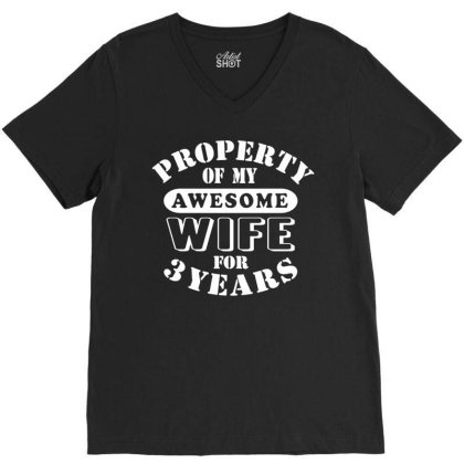 3rd Wedding Anniversary T Shirt Mens My Awesome Wife Funny Gift 3 Year V-neck Tee Designed By G3ry