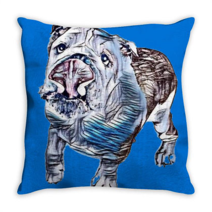 Playful And Active Dog Lookin Throw Pillow Designed By Kemnabi