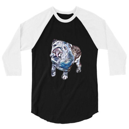 Playful And Active Dog Lookin 3/4 Sleeve Shirt Designed By Kemnabi