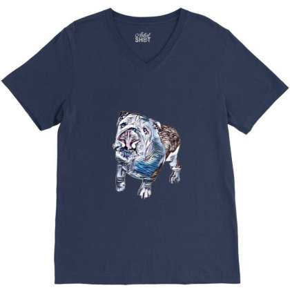 Playful And Active Dog Lookin V-neck Tee Designed By Kemnabi