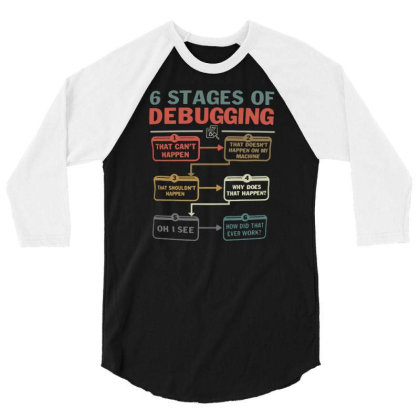 6 Stages Of Debugging Funny Software Development Programmers Coder Hac 3/4 Sleeve Shirt Designed By G3ry