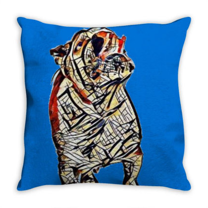 Hungry Bulldog Breed Dog With Throw Pillow Designed By Kemnabi