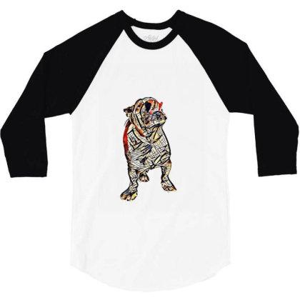 Hungry Bulldog Breed Dog With 3/4 Sleeve Shirt Designed By Kemnabi