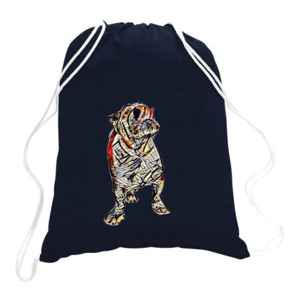 Hungry Bulldog Breed Dog With Drawstring Bags Designed By Kemnabi