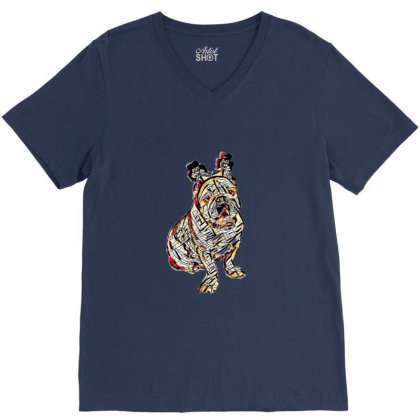 Cute Photo Of Bulldog Breed D V-neck Tee Designed By Kemnabi