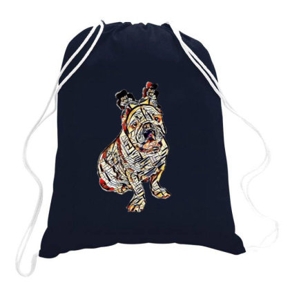 Cute Photo Of Bulldog Breed D Drawstring Bags Designed By Kemnabi