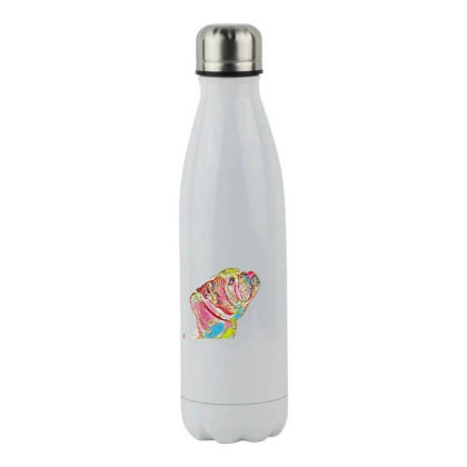 Side View Of Purebred Bulldog Stainless Steel Water Bottle Designed By Kemnabi