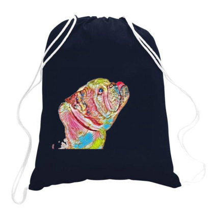 Side View Of Purebred Bulldog Drawstring Bags Designed By Kemnabi