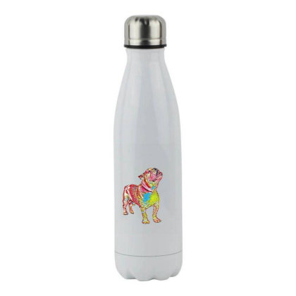 Bulldog Breed Dog Standing An Stainless Steel Water Bottle Designed By Kemnabi