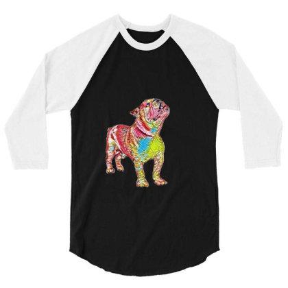 Bulldog Breed Dog Standing An 3/4 Sleeve Shirt Designed By Kemnabi