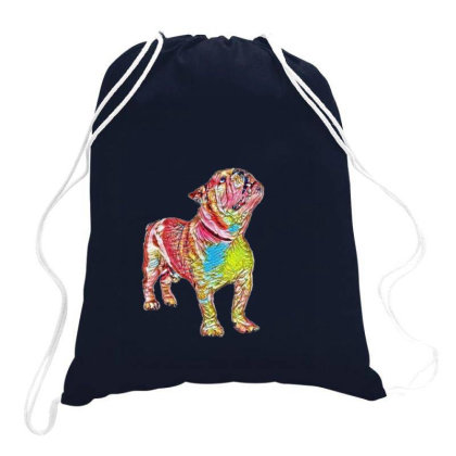Bulldog Breed Dog Standing An Drawstring Bags Designed By Kemnabi