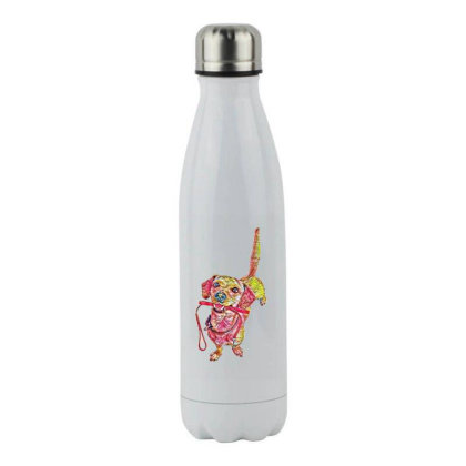 Happy Dog Wagging Tail With L Stainless Steel Water Bottle Designed By Kemnabi