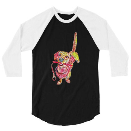 Happy Dog Wagging Tail With L 3/4 Sleeve Shirt Designed By Kemnabi