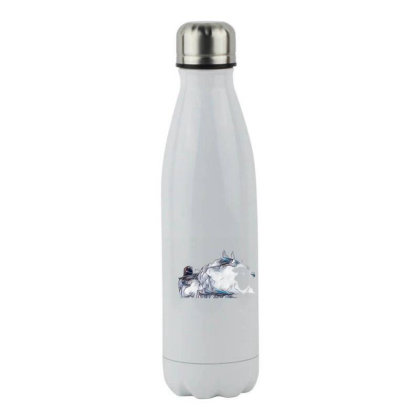 Little Terrier Dog Snarling A Stainless Steel Water Bottle Designed By Kemnabi