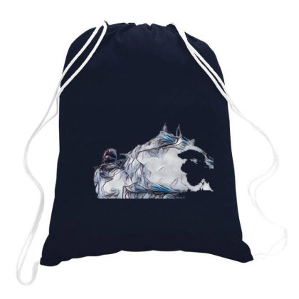 Little Terrier Dog Snarling A Drawstring Bags Designed By Kemnabi