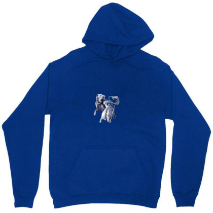 Two Terrier Dogs Of Different Unisex Hoodie Designed By Kemnabi