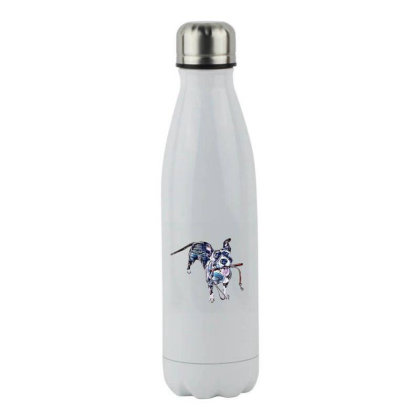 Cute Mixed Breed Dog Holding Stainless Steel Water Bottle Designed By Kemnabi