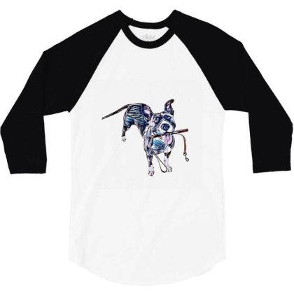 Cute Mixed Breed Dog Holding 3/4 Sleeve Shirt Designed By Kemnabi