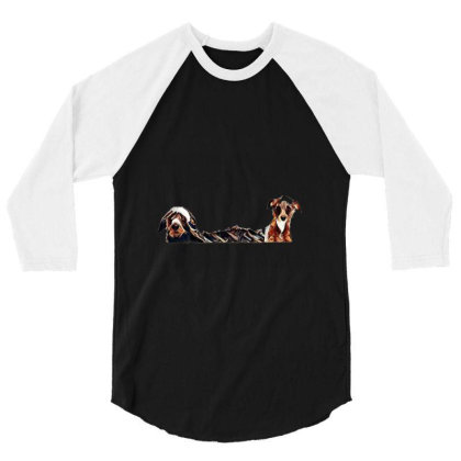 Two Different Size Terrier Do 3/4 Sleeve Shirt Designed By Kemnabi