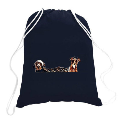 Two Different Size Terrier Do Drawstring Bags Designed By Kemnabi