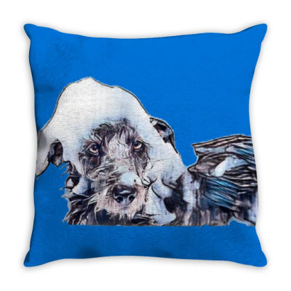 Wet Terrier Crossbreed Dog In Throw Pillow Designed By Kemnabi