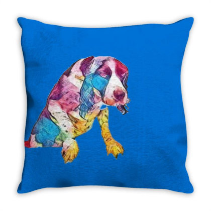 Annoyed Wet Dog Trying To Get Throw Pillow Designed By Kemnabi