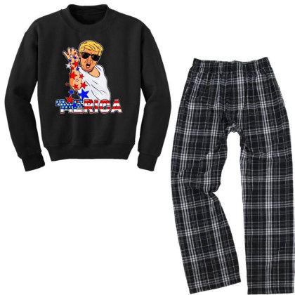 Funny Trump Salt Bae 4th Of July Youth Sweatshirt Pajama Set Designed By Star Store